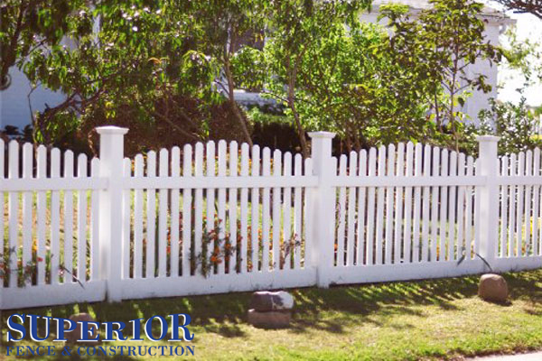 Convex vinyl picket fence - Superior Fence