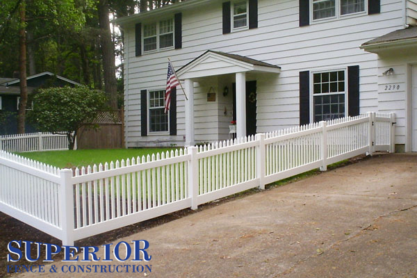 white vinyl picket fence - Superior Fence