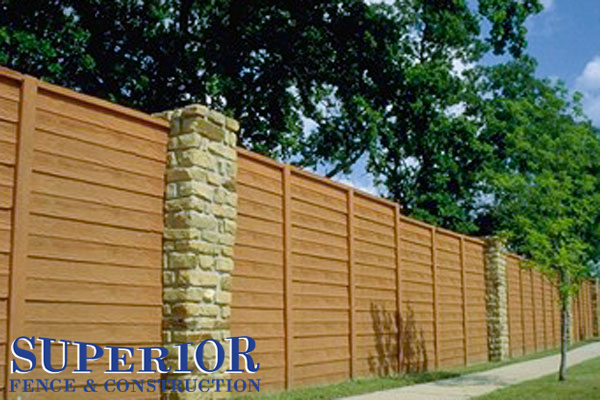 Wood with columns pre-cast concrete fence - Superior Fence