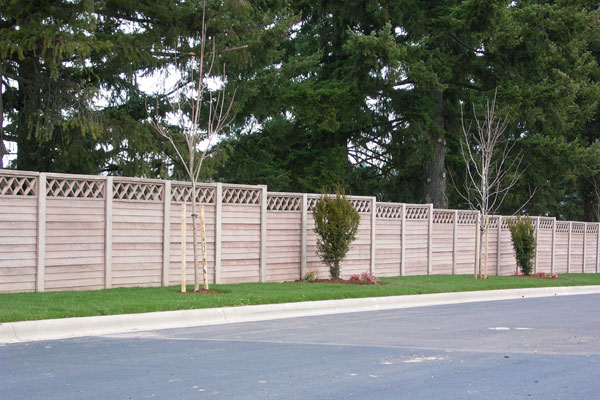 Pre-cast concrete wooden fence - Superior Fence